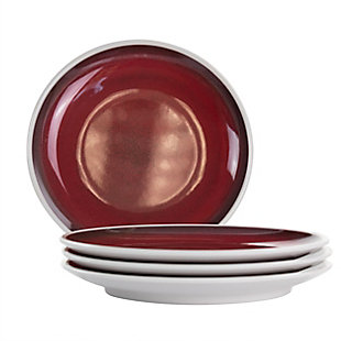 Studio California Cobalt Bay 4 Piece 9 Inch Melamine Round Dessert Plate Set in Red, , large