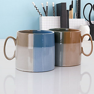 Gibson Home Glasgow 4 Piece 19.5 Ounce Fine Ceramic Cup Set in Assorted Designs, , rollover