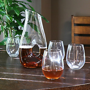Gibson Home Ringo 5 Piece 1.6 Quart Glass Pitcher Set with 19 Ounce Stemless Glasses, , rollover