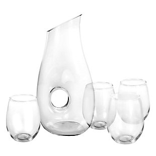 Gibson Home Ringo 5 Piece 1.6 Quart Glass Pitcher Set with 19 Ounce Stemless Glasses, , large
