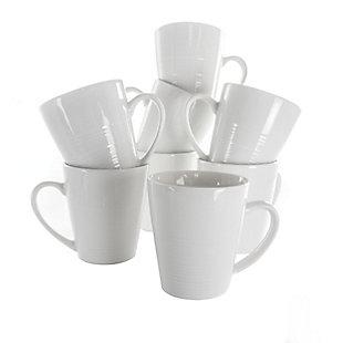 Elama Elama Amie 8 Piece 12 Ounce Porcelain Mug Set in White, , large