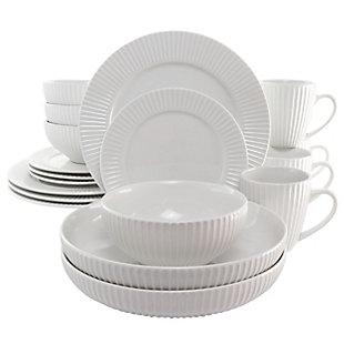 Elama Elama Elle 18 Piece Porcelain Dinnerware Set with 2 Large Serving Bowls in White, , large