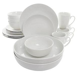 Elama Elama Owen 18 Piece Porcelain Dinnerware Set with 2 Large Serving Bowls in White, , large