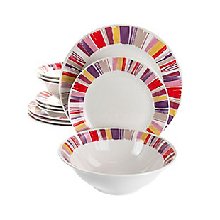 Gibson Home Orleans 12 Piece Ceramic Dinnerware Set, , large