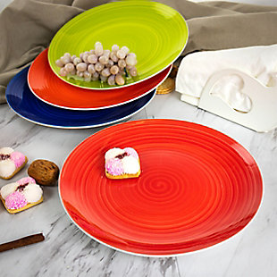 Gibson Home Crenshaw 4 Piece Fine Ceramic Dinner Plate Set in Assorted Colors, , rollover