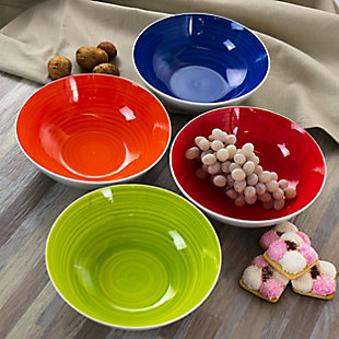 Gibson Home Crenshaw 4 Piece Fine Ceramic Bowl Set in Assorted Colors, , rollover