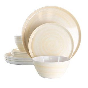 Elama Elama Crafted Clay 12 Piece Lightweight Melamine Dinnerware Set in Cream, , large