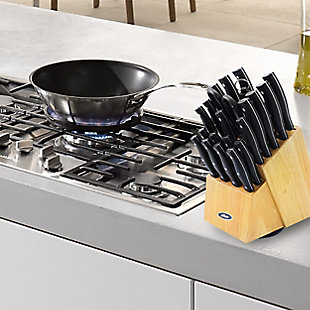 Oster Winstead 22 Piece Stainless Steel Cutlery Set with Black Handles and Wooden Block, , rollover
