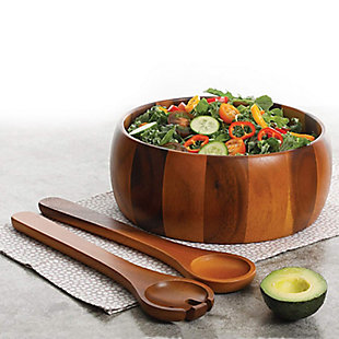 Gibson Home Laroda 3-Piece Salad Bowl Set, Brown Wood, , rollover