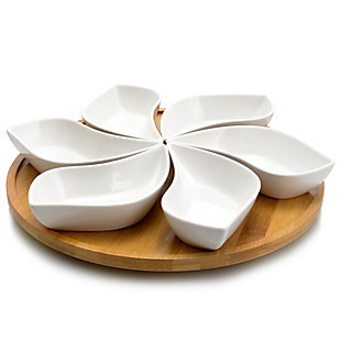 Elama Signature Modern 13.5 Inch 7pc Lazy Susan Appetizer and Condiment Server Set with 6 Unique Design Serving Dishes and a Bamboo Lazy Suzan Serving Tray, , large