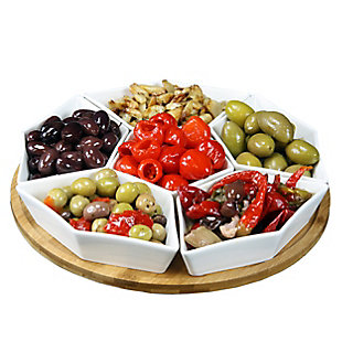 Elama Signature 12 Inch 7-Piece Condiment Server Set with a Bamboo Lazy Suzan Serving Tray, , large