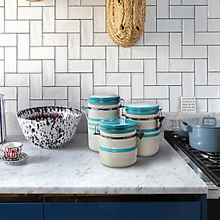 Gibson Hollydale 3 Piece Canister Set in White and Teal Band, , rollover