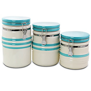 Gibson Hollydale 3 Piece Canister Set in White and Teal Band, , large