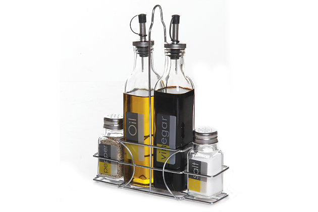 Gibson Home 4-Piece Condiment Set with Wire Caddy, , large