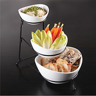 Gibson Gracious Dining 3 Tier Bowl Server Set with Metal Stand, , rollover