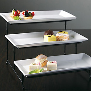Gibson Elite Gracious Dining 3-Tiered Plate Set with Metal Stand, , rollover