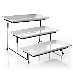 Gibson Elite Gracious Dining 3-Tiered Plate Set with Metal Stand, , large