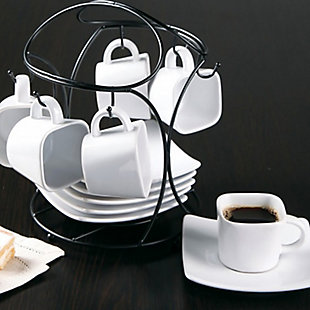 Gibson Elite Gracious Dining 13-Piece Porcelain Espresso and Saucer Set with Metal Rack, , rollover