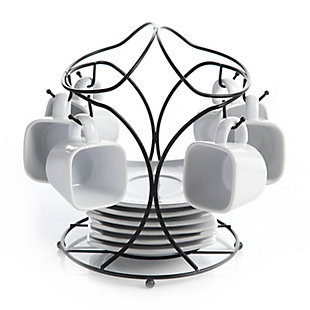 Gibson Elite Gracious Dining 13-Piece Porcelain Espresso and Saucer Set with Metal Rack, , large