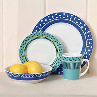 Gibson Home Lockhart 16 Piece Round Stoneware Dinnerware Set, , rollover
