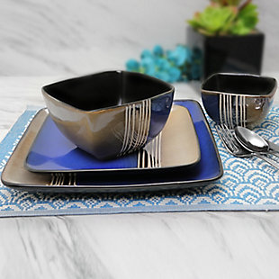 Elama Elama Uptown Loft 16 Piece Double Bowl Stoneware Dinnerware Set with Service for 4, , rollover