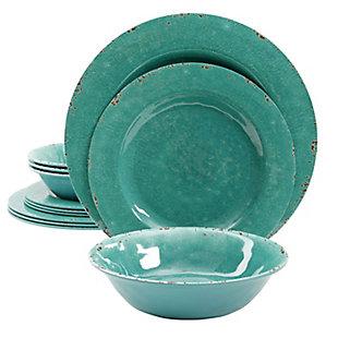 Studio California Melamine Mauna 12-Piece Dinnerware Set in Green Crackle Look Decal, Green, large
