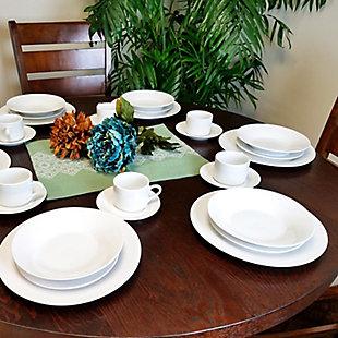 Gibson Home Rosendal 30 Piece Porcelain Dinnerware Set in White, , rollover