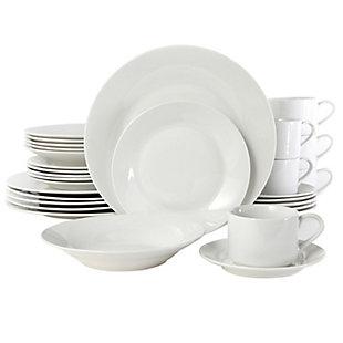 Gibson Home Rosendal 30 Piece Porcelain Dinnerware Set in White, , large