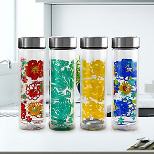 Gibson Home Glasselle 4 Piece 13 Ounce Glass Decorated Hydration Bottle Set in Assorted Colors, , rollover