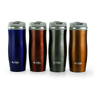 Mr. Coffee Kendrick 4 Piece Stainless Steel 10 Ounce Thermal Travel Tumbler Cup Set in Assorted Colors, , large
