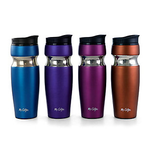 Mr. Coffee Kendrick 4 Piece 10 Ounce Stainless Steel Travel Water Bottles in Assorted Colors, , large