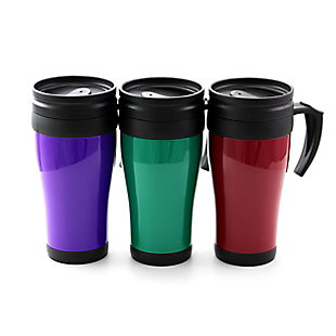 Gibson Everyday Freeway Exit 3 Piece 12 Ounce Assorted Colors Travel Mugs with Lids, , large