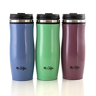 Mr. Coffee 12.5 Ounce Stainless Steel Insulated Thermal Travel Mug Set of 3, , large