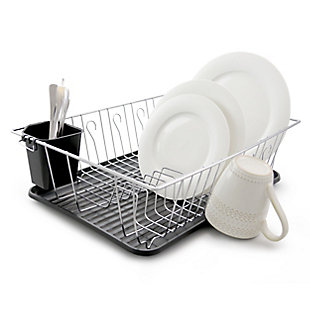Better Chef 22 Inch Chrome Dish Rack with Black Draining Tray, , rollover