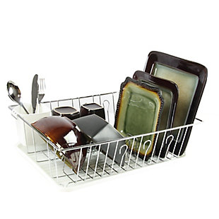 Megachef 17.5 Inch White Single Level Dish Rack with 14 Plate Positioners and a Detachable Utensil Holder, , rollover