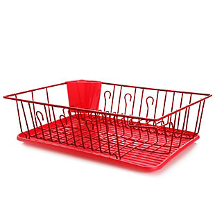Megachef 17.5 Inch Red Dish Rack with 14 Plate Positioners and a Detachable Utensil Holder, , large