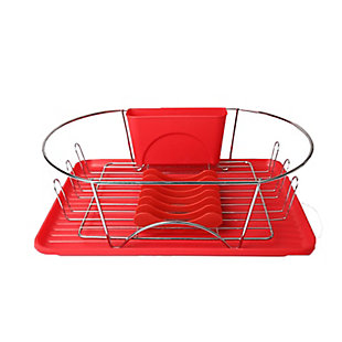 Megachef 17 Inch Red and Silver Dish Rack with Detachable Utensil holder and a 6 Attachable Plate Positioner, , large