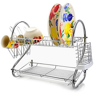 Megachef 16 Inch Two Shelf Dish Rack with Easily Removable Draining Tray, 6 Cup Hangers and Removable Utensil Holder, , rollover