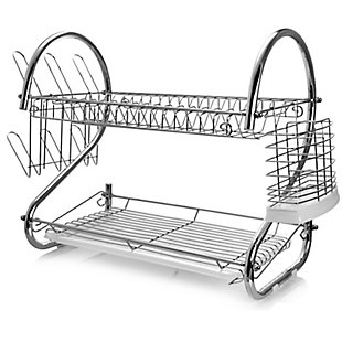Megachef 16 Inch Two Shelf Dish Rack with Easily Removable Draining Tray, 6 Cup Hangers and Removable Utensil Holder, , large