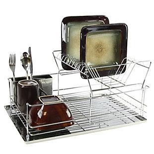 Megachef 15.5 Inch Stainless Iron Shelf Dish Rack, , rollover