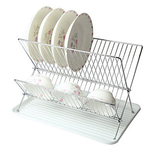 Megachef Wire Dish Rack with Plastic Tray - White, , rollover