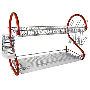 Better Chef 2-Tier 22 in. Chrome Plated Dish Rack in Red, , large
