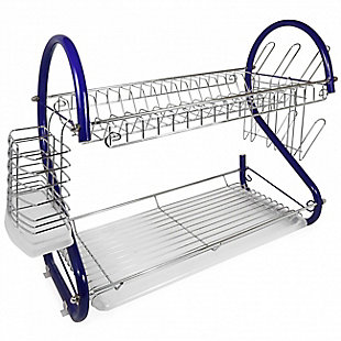 Better Chef 2-Tier 16 in. Chrome Plated Dish Rack in Blue, , large