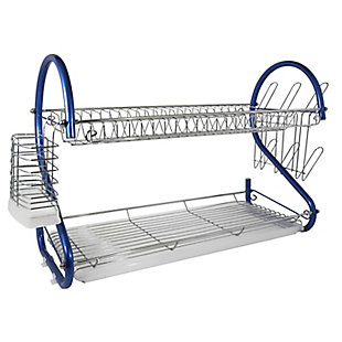Better Chef 2-Tier 22 in. Chrome Plated Dish Rack in Blue, , large