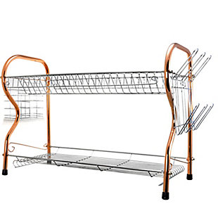 Better Chef 2-Tier 22 in. Chrome Plated Dish Rack in Copper, , rollover