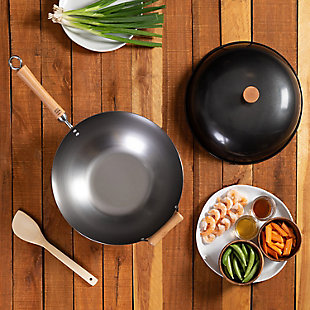 Joyce Chen Joyce Chen Classic Series Uncoated Carbon Steel Wok Set with Lid and Birch Handles (4 Pieces), Silver, rollover