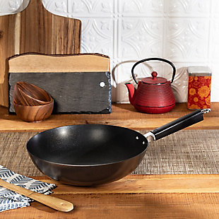 Joyce Chen Joyce Chen Professional Series 12-Inch Carbon Steel Excalibur Nonstick Stir Fry Pan with Phenolic Handle, , rollover