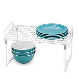 Honey-Can-Do Space-Saving Kitchen Cabinet White Shelf Organizer, , rollover