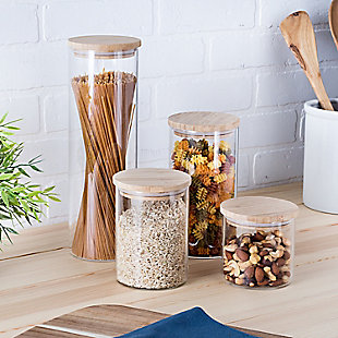 Honey-Can-Do 4-Piece Glass Jar Storage Set with Bamboo Lids, , rollover