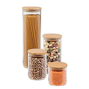 Honey-Can-Do 4-Piece Glass Jar Storage Set with Bamboo Lids, , large